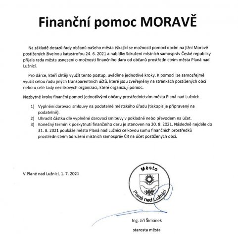 Finanční pomoc Moravě